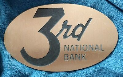 VINTAGE 3rd NATIONAL BANK DAYTON OH HEAVY BUILDING SIGN / PLAQUE ~ EVC