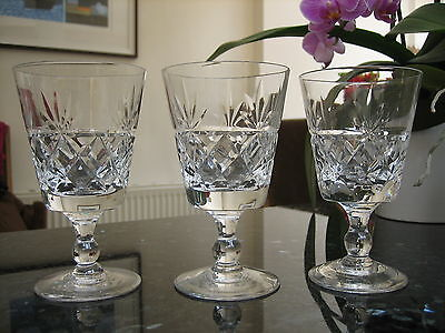 """Royal Brierley Bruce Wine Glasses 5"""" tall x 3 Signed Ex.Con Free P&P"""