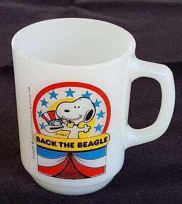 Vintage 1980 Anchor Hocking Fire King D-Handle Mug Snoopy For President #1