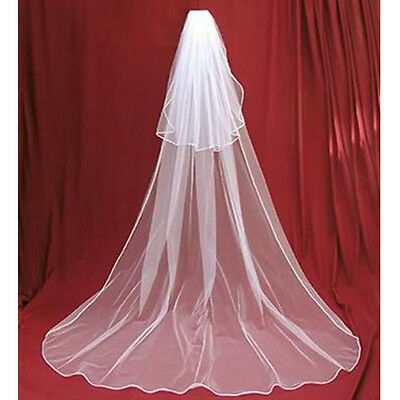 3 Metres Two Layers Long Wedding Veil Comb Soft Tulle Cut Edge Cathedral