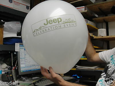 """Jeep Celebration Advertising 18"""" Round White Latex Rubber Inflatable Balloon"""