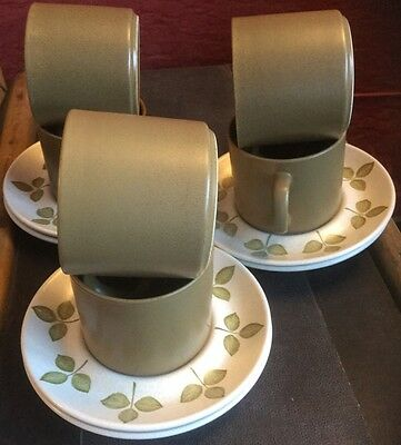J & G Meakin tulip time maidstone olive cup and saucer x 6 retro vintage no chip