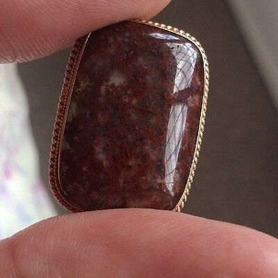 Antique Victorian Red Plume Moss Agate Stone 9Ct Gold Surround
