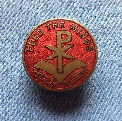 Vintage Feed The Minds Religious Enamel Pin Badge
