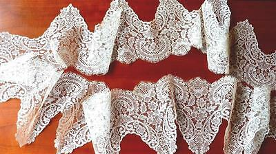 FANTASTIC ANTIQUE WHITE SILK FRENCH FLORAL CHANTILLY LACE WEDDING DRESS 120x9""
