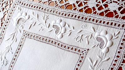 V37 NOBLE HANDM FRENCH 19THC LINEN RUNNER AYRSHIRE EMBROIDERY & DRAWWORK  31x16""