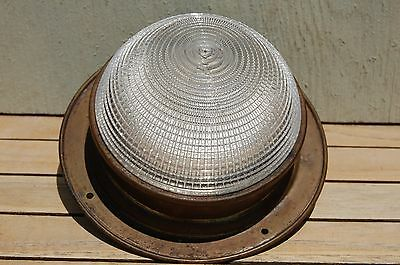 Vintage Dome Light Brass Nautical Electric Lighting Great Glass