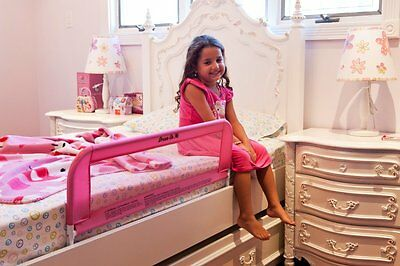 Convertible Crib Rail Toddler Pink Baby Kids Bed Safety Mesh 33Inch Long Fastens