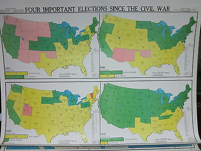 Vintage Cram 6 Layer American History Pull Down School House Wall Map