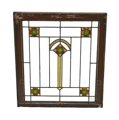 1920's American Antique Arts & Crafts Style Leaded Art Glass Window
