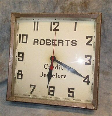 Roberts Credit Jewelers Wall Mount Clock Sign Vintage Advertising a