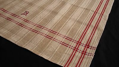 unused linen damask Runner Towel stripe pattern and red woven border