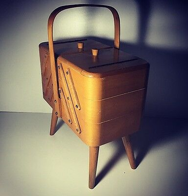 Vintage Mid Century 3 Tier Cantilever Sewing Storage Box Dansette Angled Legs