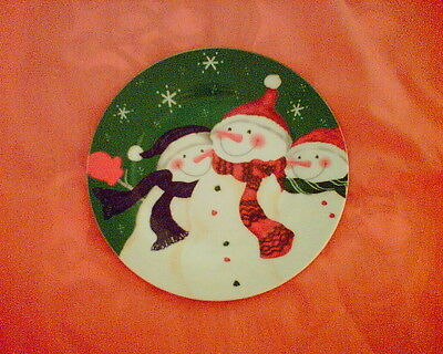 Colourful Snowman Decorated China  Plate