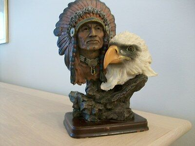 A Native American Indian Chief With Eagle Figurene