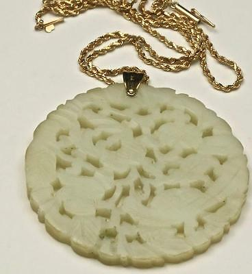 Vintage Large Circle Carved Jade Medallion with 14k Gold Chain Floral Bird