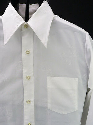 Vintage 70s Bonds Silky White Floral Embossed Tuxedo Dress Shirt French 15.5 L