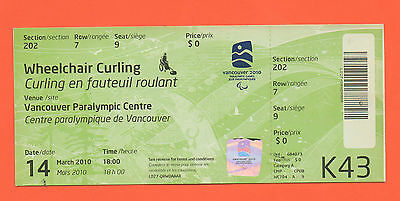 Orig.Ticket   Paralympic Winter Games VANCOUVER 2010 - CURLING  !!  VERY RARE