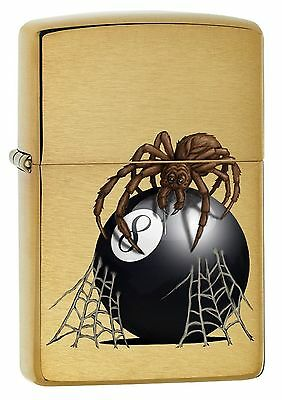Zippo 7958, Spider With 8 Ball, Brushed Brass Finish Lighter, Full Size