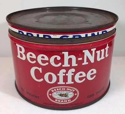 VINTAGE BEECH NUT COFFEE TIN CAN  PACKING CO CANAJOHARIE NY. WITH LID 1950's
