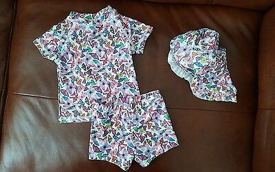 NEXT Baby Girls Sunsafe 3 Piece Swimming Costume Hat Butterfly Print 6-9 Months