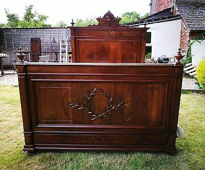 Extra Special Stunning Double ANTIQUE FRENCH WALNUT  Henri II STYLE BED  + BASE