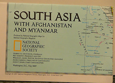 Vintage 1997 National Geographic Map of South Asia w/ Afghanistan and Myanmar