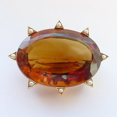 Stunning Antique Victorian Specimen Brooch Huge 100+Carat VS1 Citrine 18ct Gold
