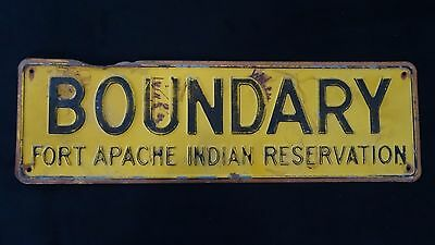 Rare US Department Interior Boundary Fort Apache Indian Reservation Sign USFS