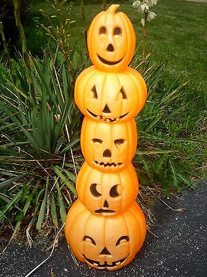 "Vtg Halloween Blow Mold Union Don Featherstone Pumpkin Stack  35"" Totem Pole"