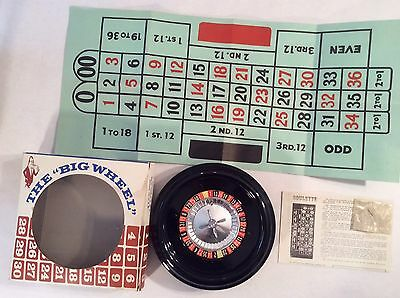 """THE """"BIG WHEEL"""" ROULETTE NO. 138 vintage game H. Baron Co. MADE IN U.S.A. Bar"""