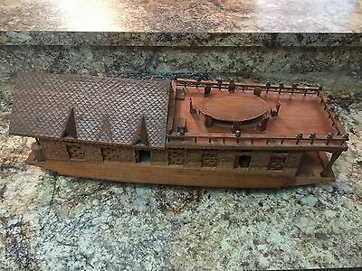 Vintage RARE Hand Carved Hand Crafted Kashmir India Model Boat House.