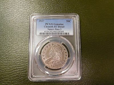 1827 Capped Bust Half Dollar SQUARE BASE 2  PCGS AU Details Freshly Graded