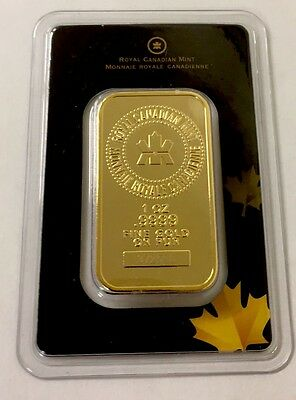 Royal Canadian Mint RCM 1 Troy Oz .9999 Gold Bar Sealed /Assay Certificate