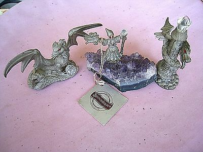 Spoontiques Pewter Figurines......Lot of 3 different...Dragon...Castle...Wizard