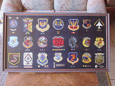 "LOT of(21) USAF SQUADRON PATCHES with RIBBONS,RANK,WINGS, INSIGNIA'S ""MUST SEE"""