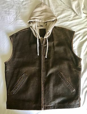 Vintage Leather Hooded Vest