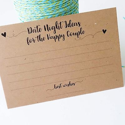 Wedding Advice Cards - Date Night Ideas Guest Book Wishing Well Note Cards