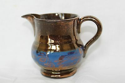 "Vintage Copper Lusterware Pitcher/Creamer Blue Band 3"" Tall"