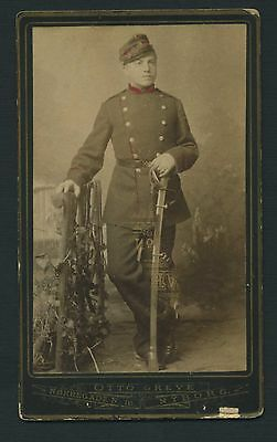 Otto Greve Nyborg Military Soldier in Pose Uniform Sword CDV c1860 Denmark