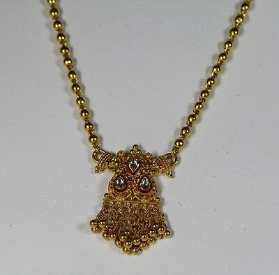 """Indian 22K Solid Yellow Gold Bead Necklace with Teardrop Pendant 16.5"""" 14.5dwt"""
