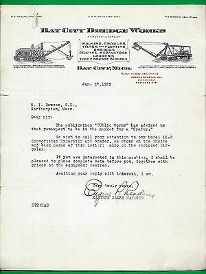 1925 Letterhead & Brochure ~ Bay City Dredge Works ~ Crawler, Excavator, Etc