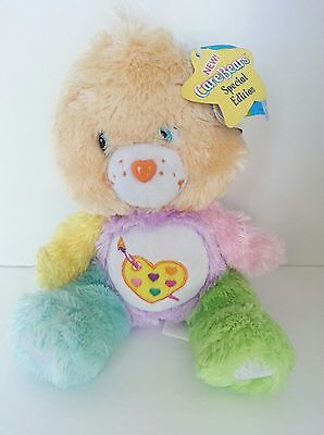"Care Bear Work of Heart artist palette 8"" Comfy Edition Series 12 Tag Damage"