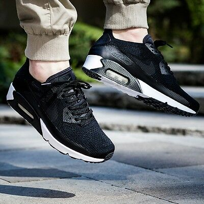 the latest 9c564 bd0e9 NIKE AIR MAX 90 ULTRA 2.0 FLYKNIT MEN'S SHOE LIFESTYLE COMFY SNEAKER Black  White