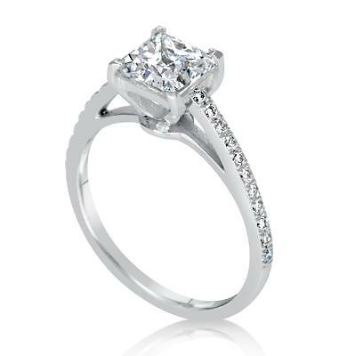 1.5 ct SI1 Princess Cut Diamond Solitaire Engagement Ring White Gold 18k 262659