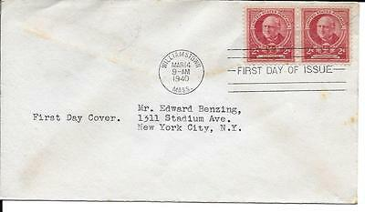 Scott #870 Mark Hopkins FDC - addressed - 2 stamps - no cachet
