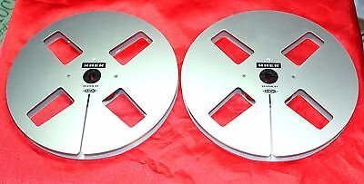 "+ Excellent + 2 Original Uher  Empty Precision Metal Reel 7""; 1/4"" Take Up Reel"