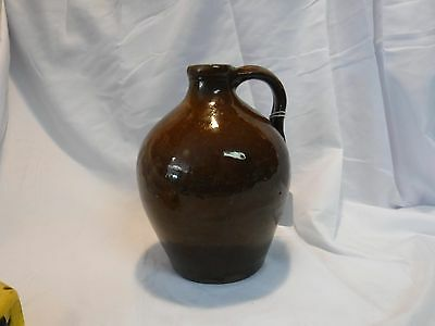 Antique Ovoid Handled Jug Probably Redware, Red Brown Surface Great Shape Early
