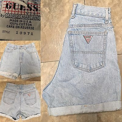 VTG Guess Jeans Shorts High Waist Button Fly Cuffed Sz 28 Made In USA
