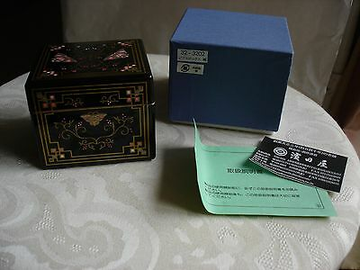 Japanese black w/ butterfly etched pink gold design wood lacquer jewelry box New